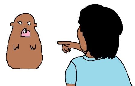 marmot stares at boy 1